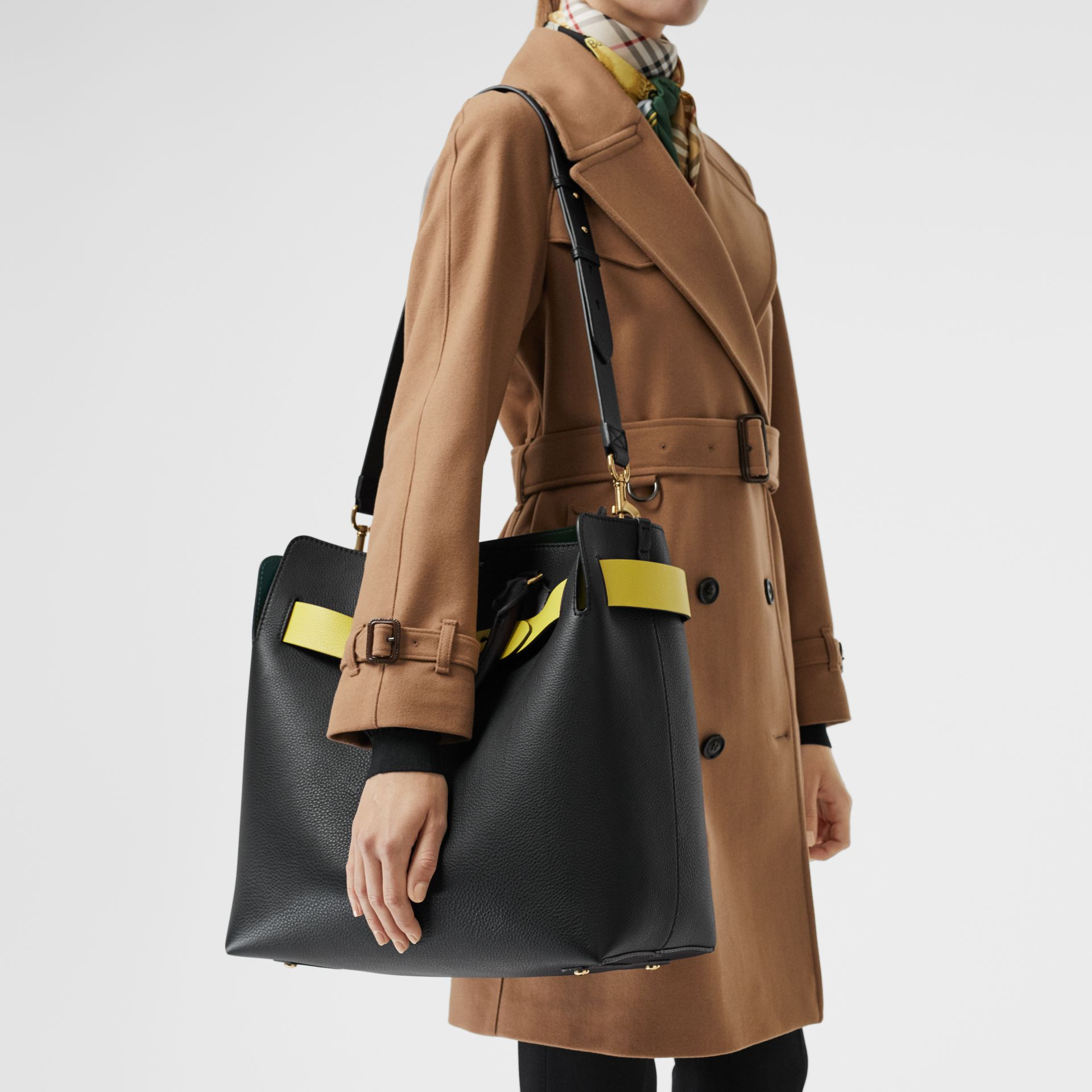 The Large Leather Belt Bag in Black/yellow | Burberry United Kingdom - gallery image 3