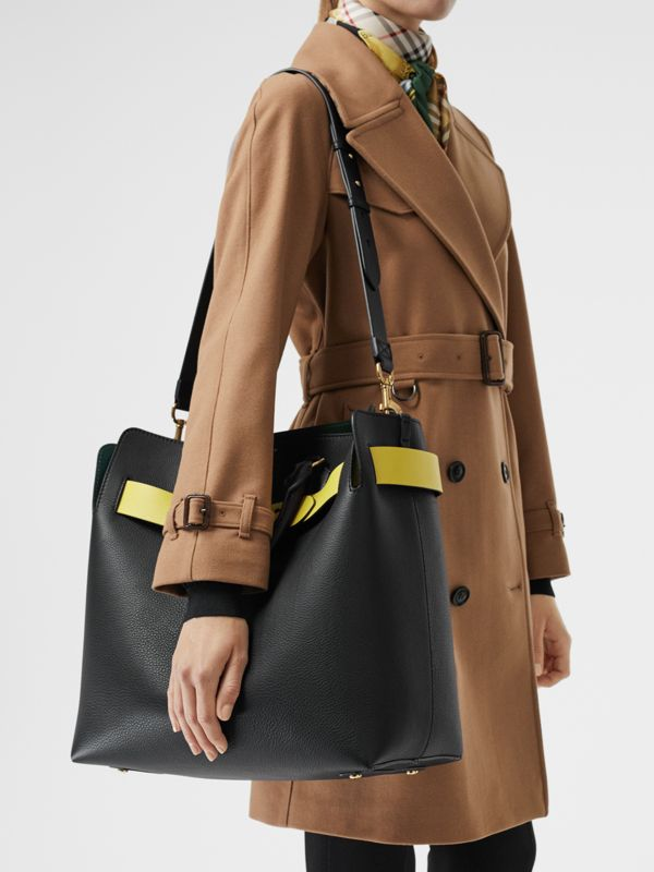 Grand sac The Belt en cuir (Noir/jaune) | Burberry Canada - cell image 3