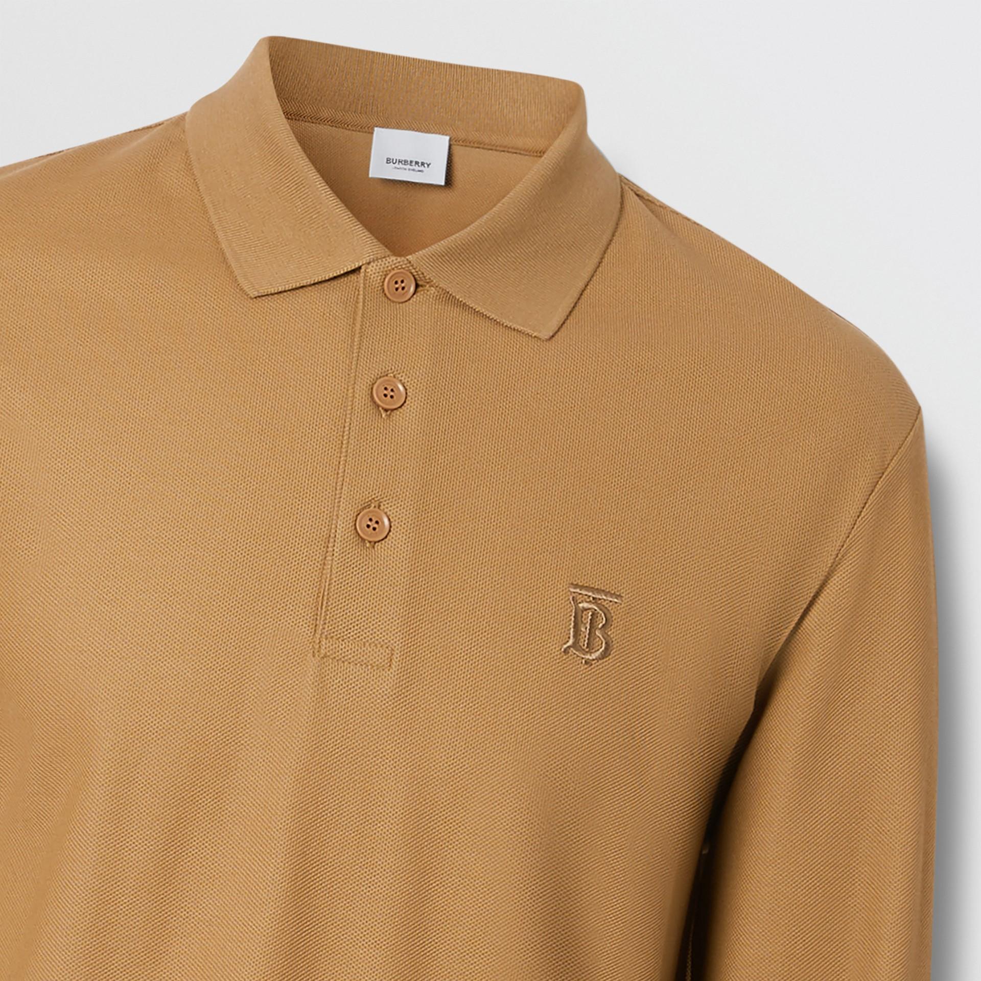Long-sleeve Monogram Motif Cotton Piqué Polo Shirt in Camel - Men | Burberry United Kingdom - gallery image 1