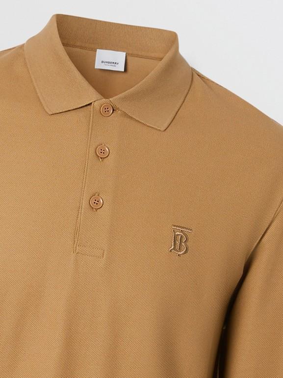 Long-sleeve Monogram Motif Cotton Piqué Polo Shirt in Camel - Men | Burberry United Kingdom - cell image 1