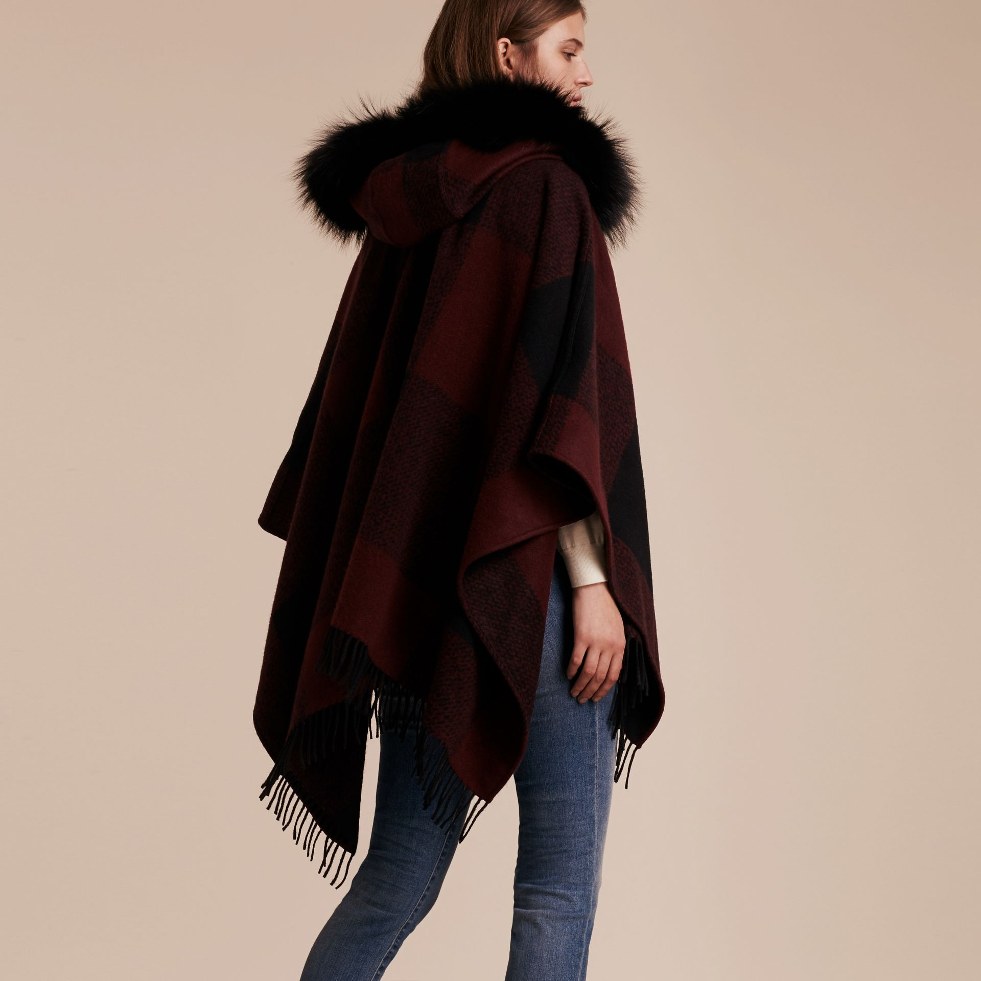 Claret Fur-trimmed Buffalo Check Wool Cashmere Poncho Claret - gallery image 3