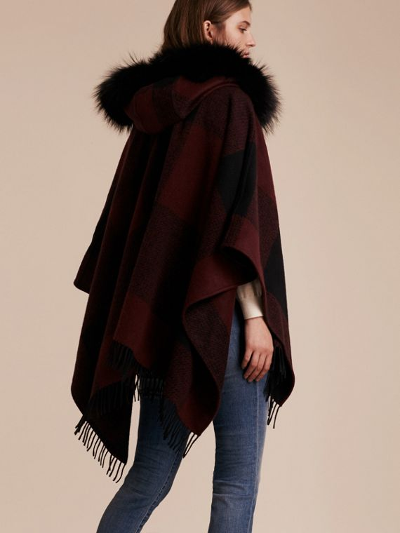 Claret Fur-trimmed Buffalo Check Wool Cashmere Poncho Claret - cell image 2