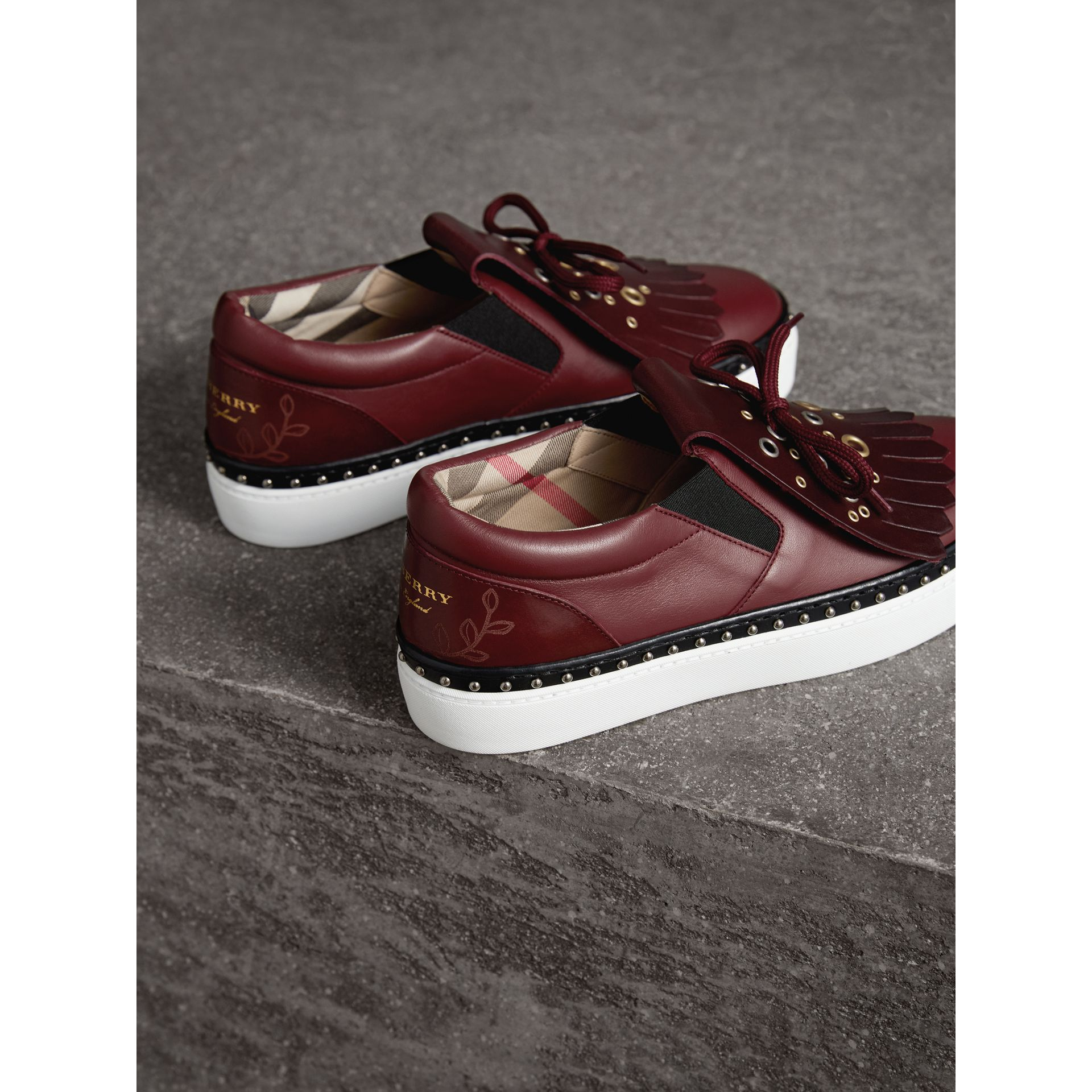 Kiltie Fringe Leather Sneakers in Cerise Purple - Women | Burberry Canada - gallery image 3
