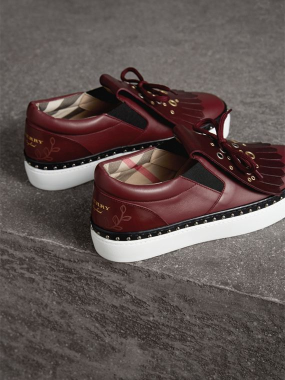 Kiltie Fringe Leather Sneakers in Cerise Purple - Women | Burberry - cell image 3