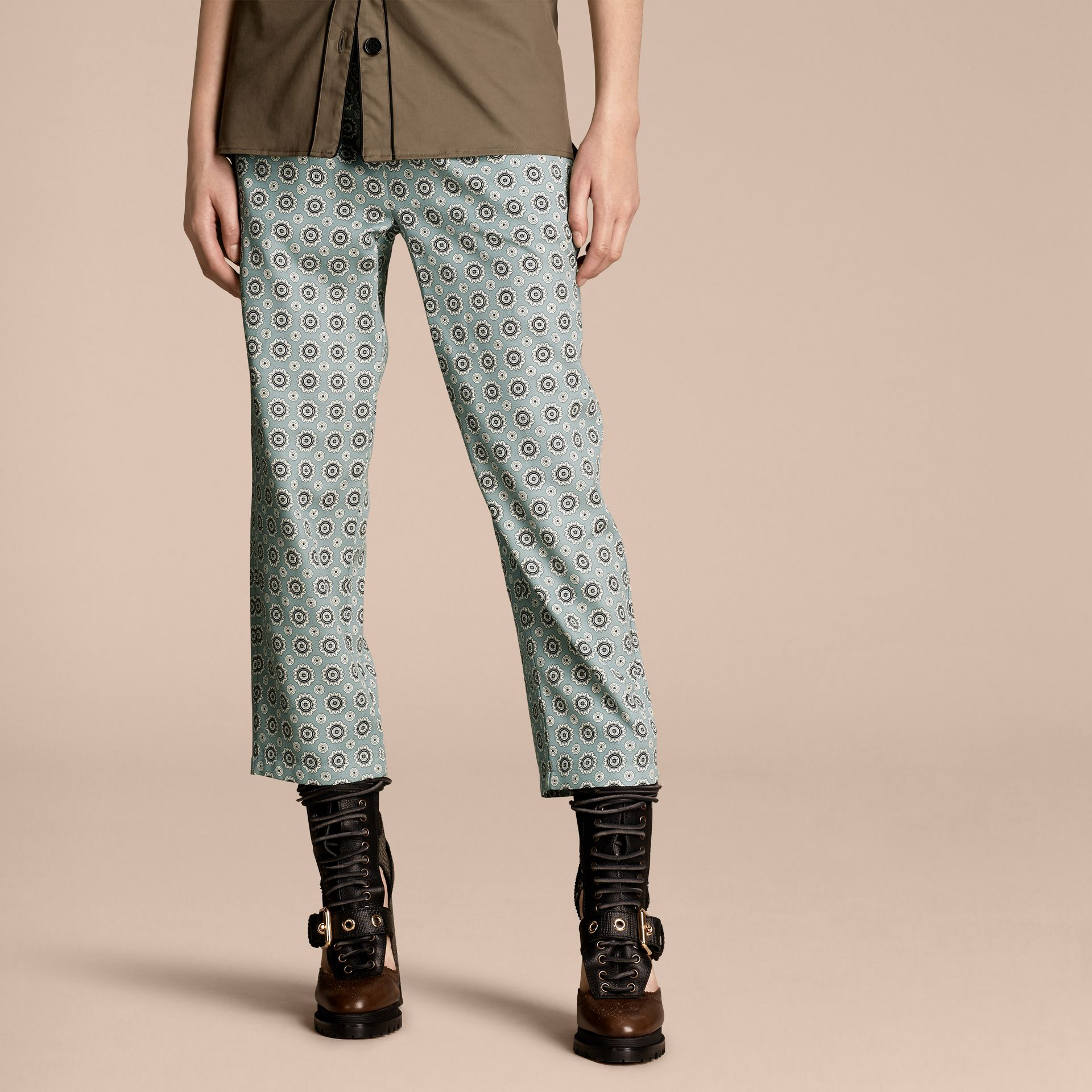 Pale stone blue Pyjama Print Cropped Silk Cotton Pyjama-style Trousers Pale Stone Blue - gallery image 1
