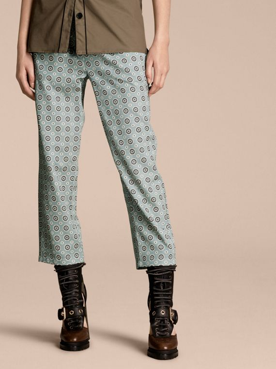 Pyjama Print Cropped Silk Cotton Pyjama-style Trousers Pale Stone Blue