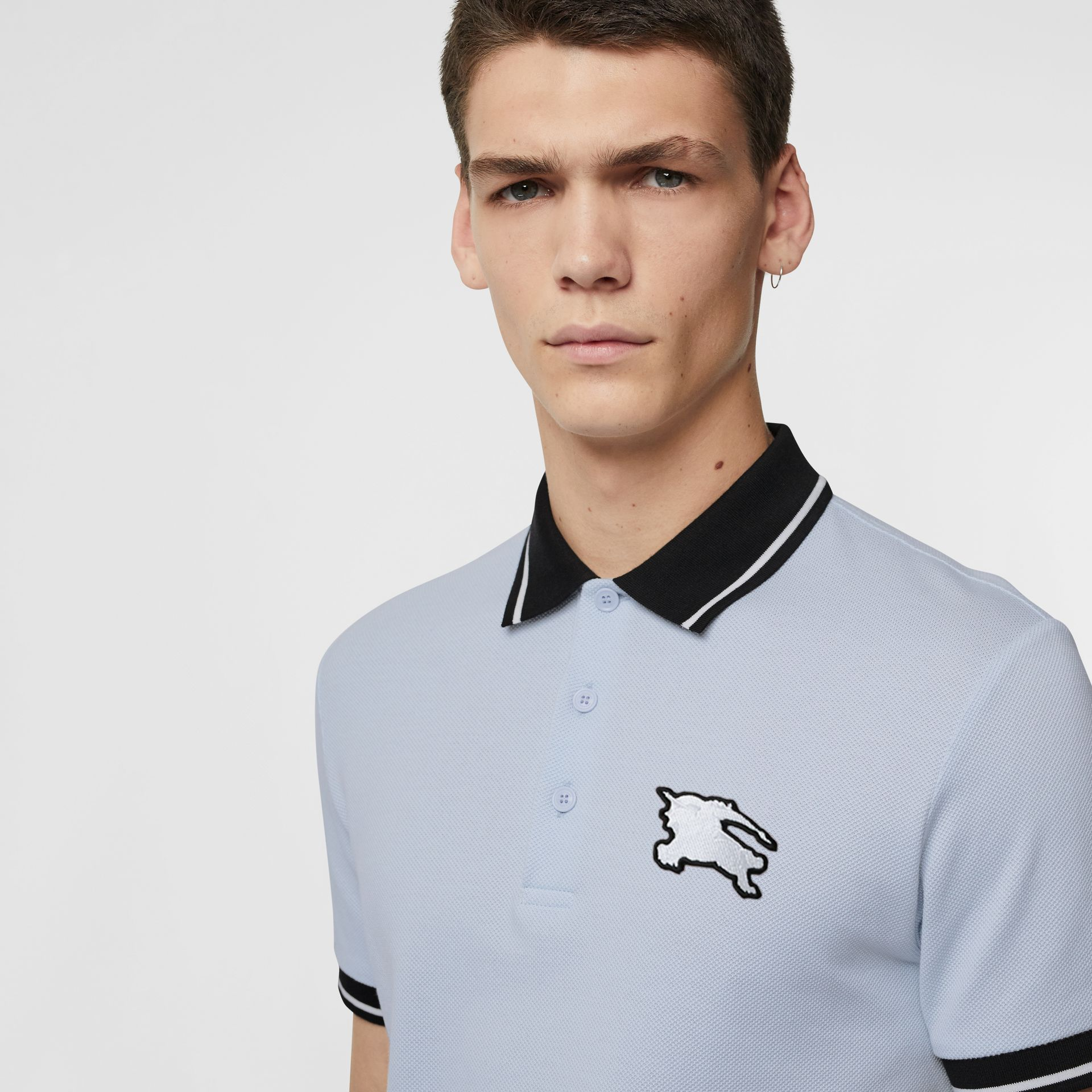 Tipped Cotton Piqué Polo Shirt in Light Indigo - Men | Burberry - gallery image 1