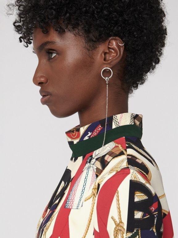 Graffiti Archive Scarf Print Silk Wool Shift Dress in Stone - Women | Burberry Canada - cell image 1
