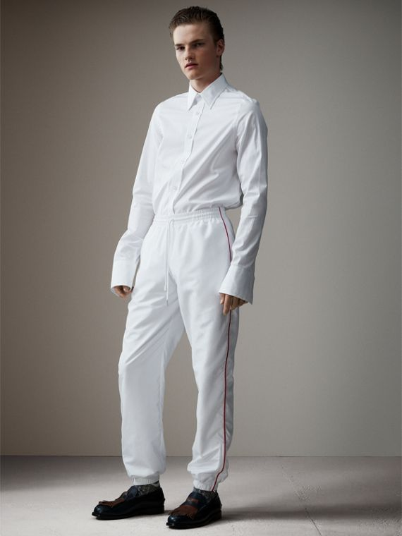 Poplin Track Pants with Contrast Piping in White
