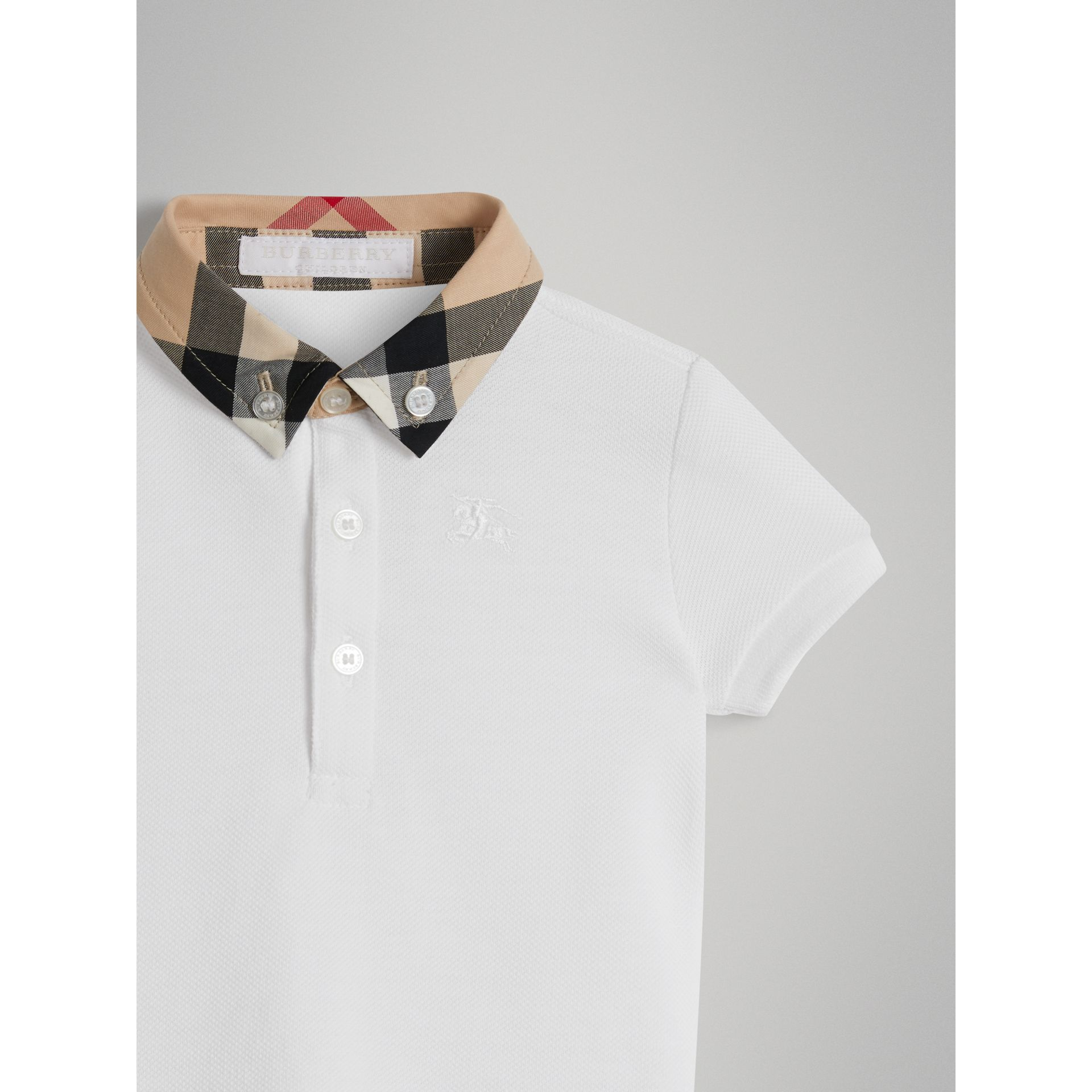 Check Collar Cotton Polo Shirt in White - Children | Burberry - gallery image 4