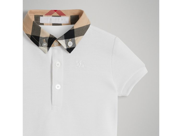 Check Collar Cotton Polo Shirt in White | Burberry - cell image 4