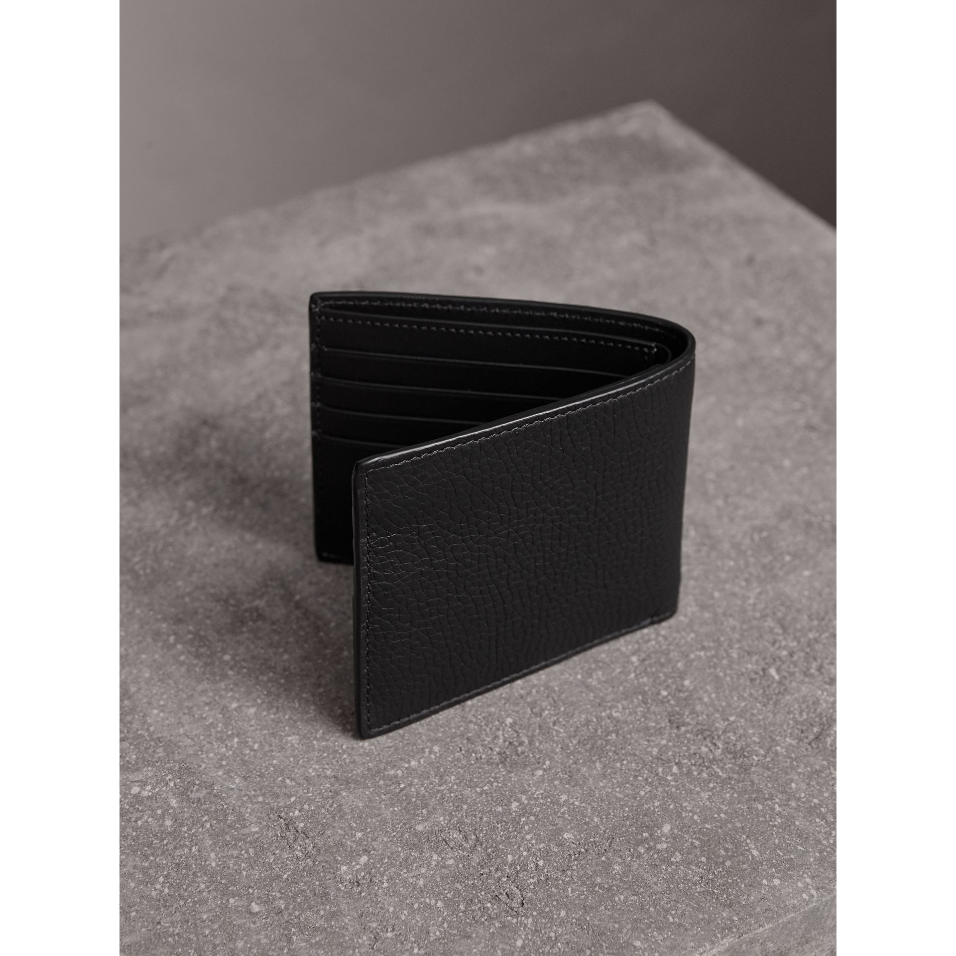 Embossed Leather Bifold Wallet in Black - Men | Burberry United States - gallery image 2