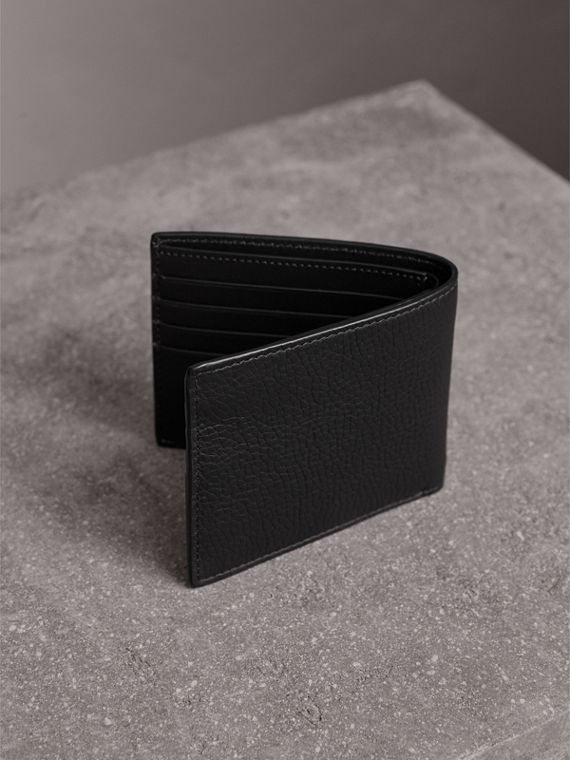 Embossed Leather Bifold Wallet in Black - Men | Burberry - cell image 2