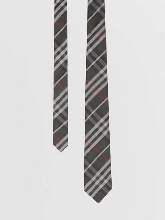 Classic Cut Vintage Check Silk Tie in Dark Steel Grey