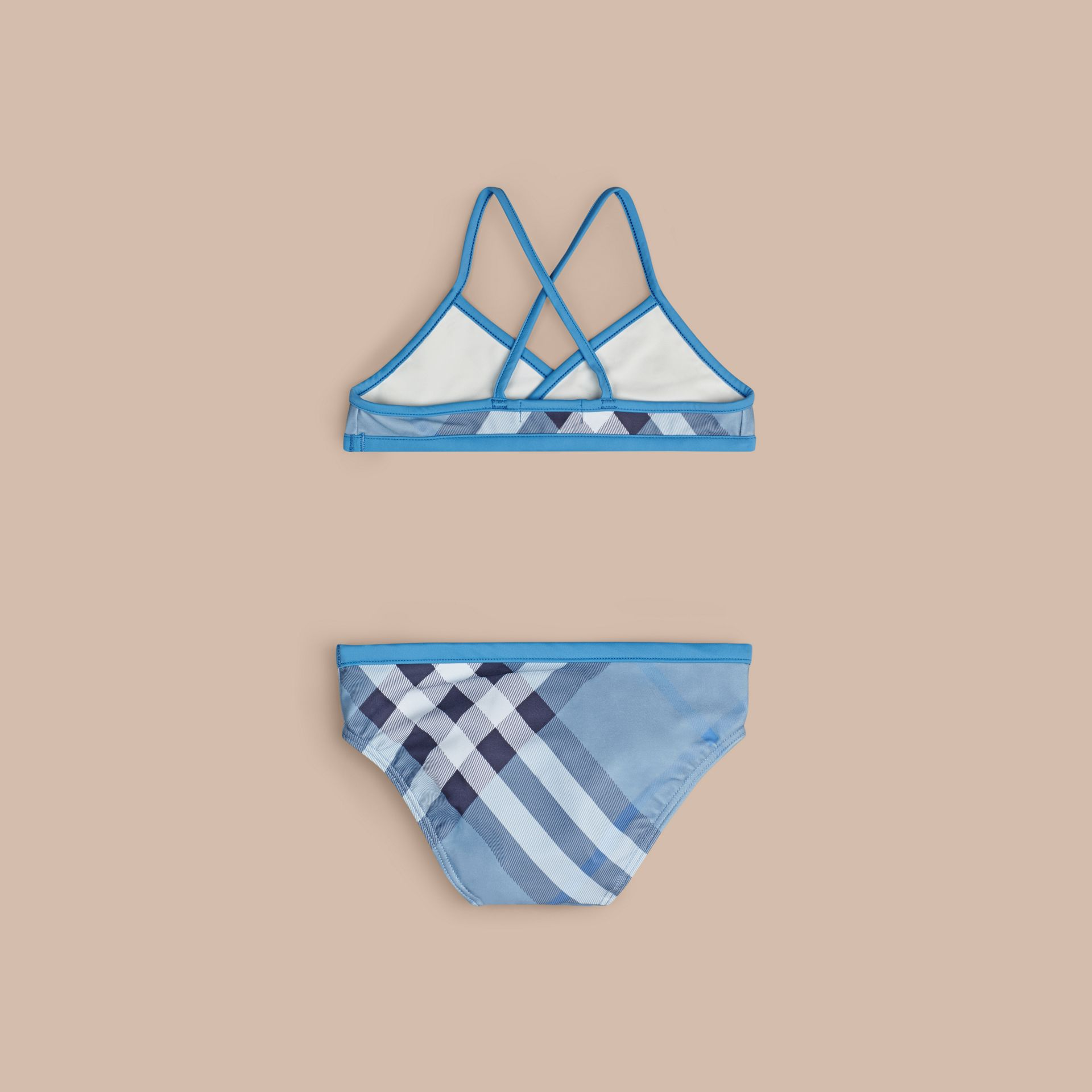 Mineral blue Check Bikini with Contrast Trim - gallery image 2