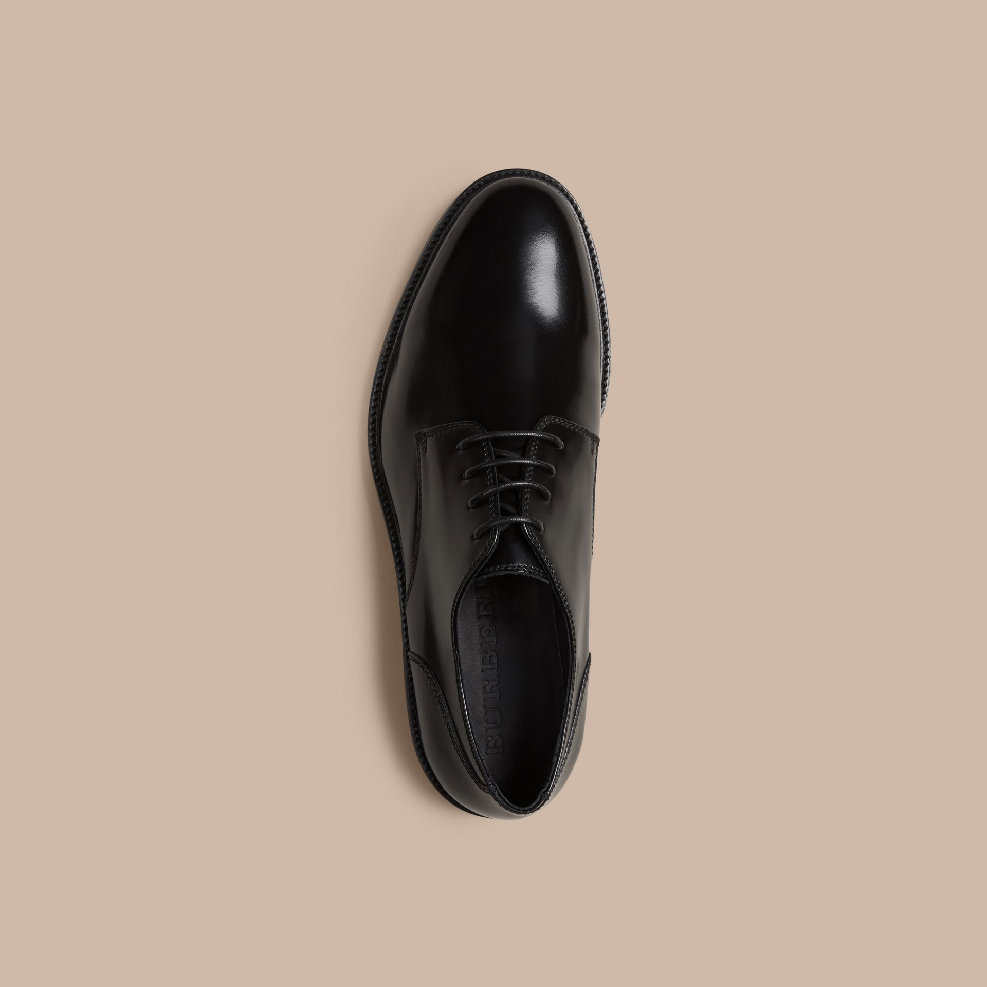 Black Leather Derby Shoes Black - gallery image 3