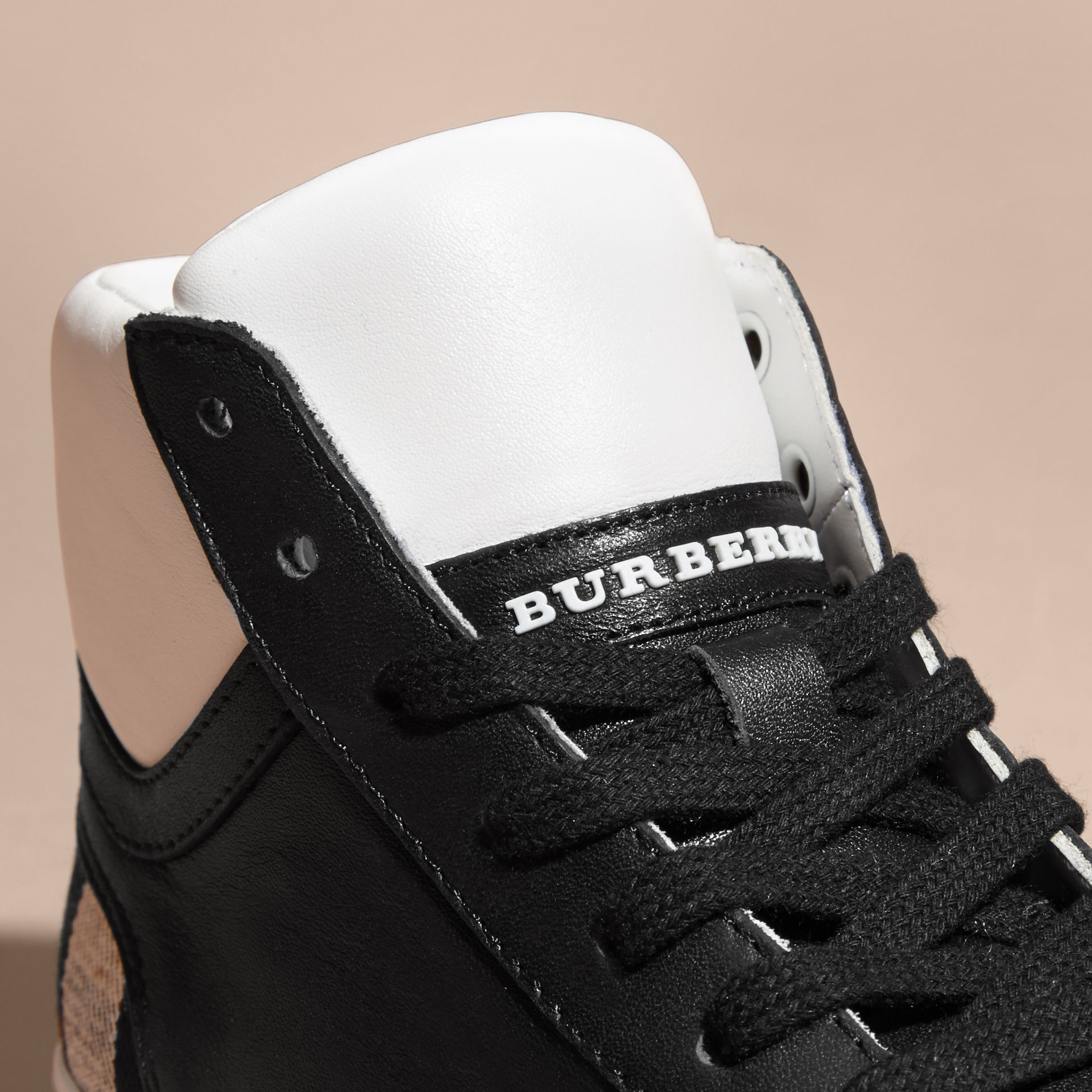 Black Leather and Check High-top Trainers - gallery image 3