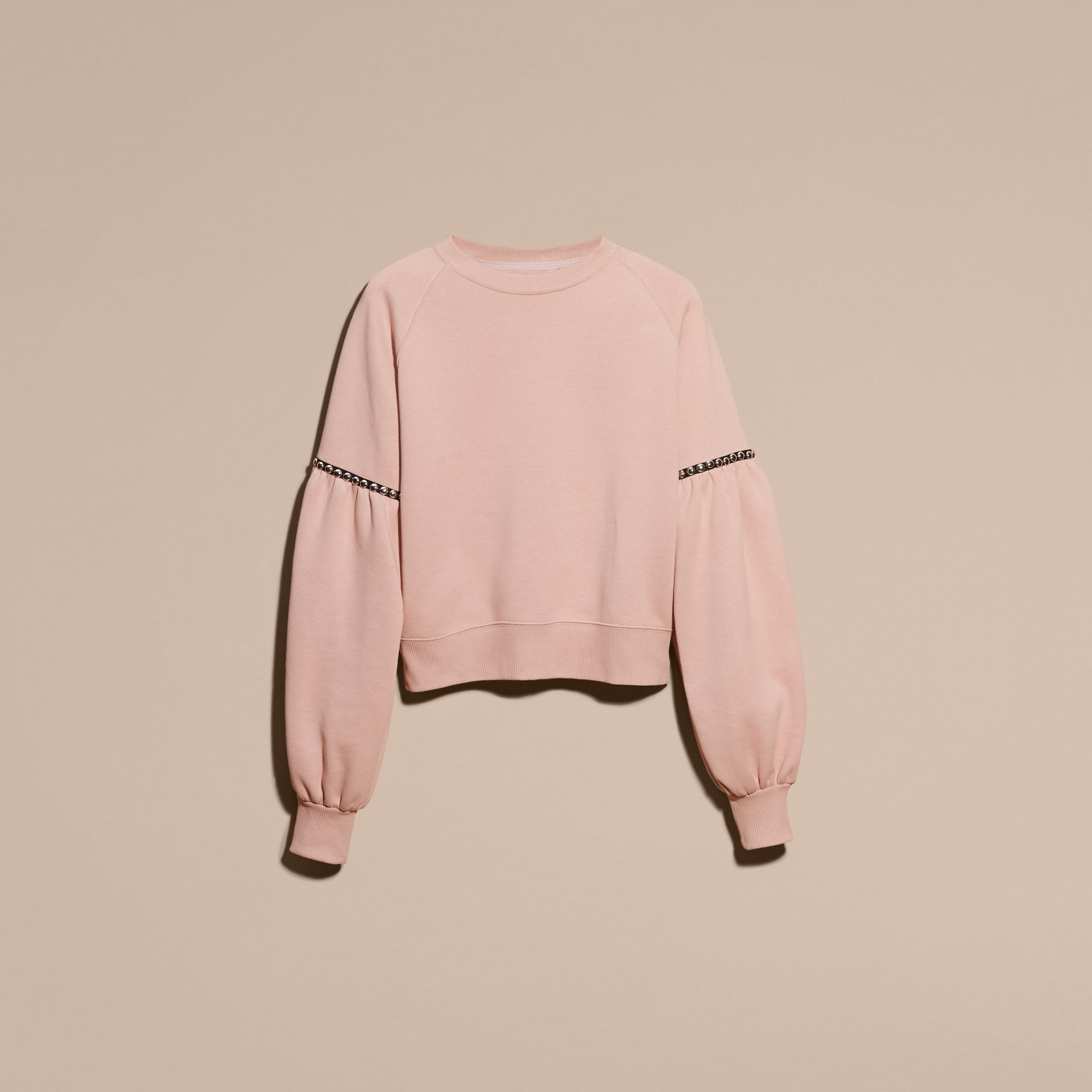Rose cendré Sweat-shirt en jersey de coton mélangé avec manches bouffantes - photo de la galerie 4