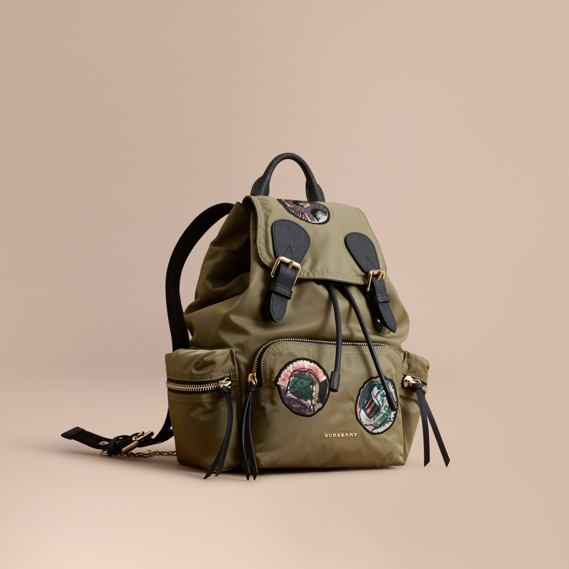 The Medium Rucksack in Technical Nylon with Pallas Heads Appliqué Canvas Green - gallery image 1