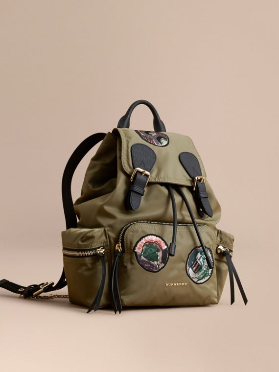 The Medium Rucksack in Technical Nylon with Pallas Heads Appliqué Canvas Green