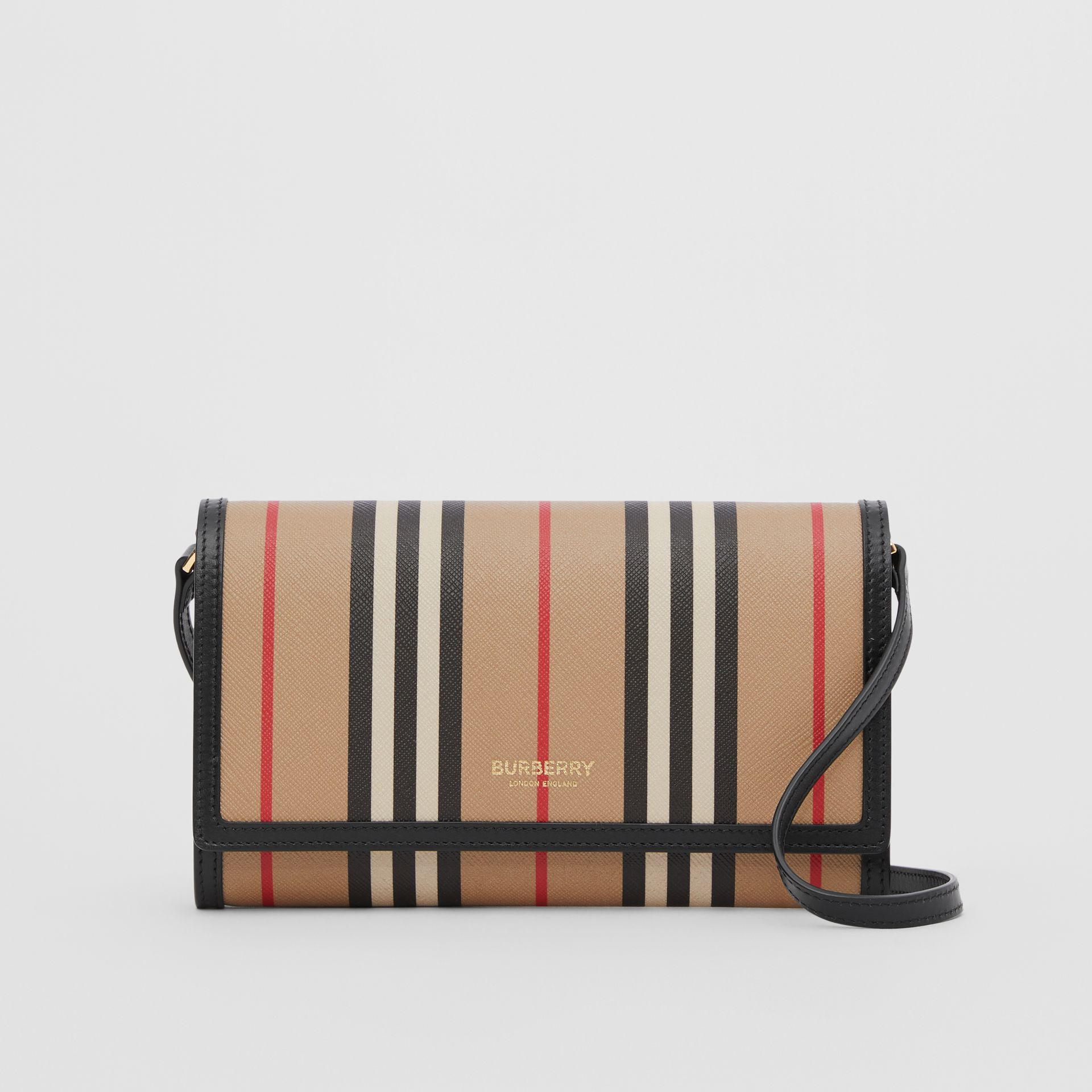 Icon Stripe E-canvas Wallet with Detachable Strap in Archive Beige - Women | Burberry - gallery image 0