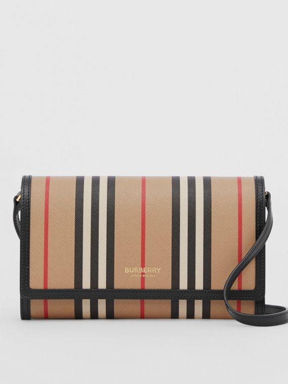 Icon Stripe E-canvas Wallet with Detachable Strap in Archive Beige