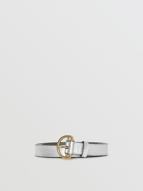 Slim Metallic Leather D-ring Belt in Silver/dark Olive - Women | Burberry Australia - cell image 3