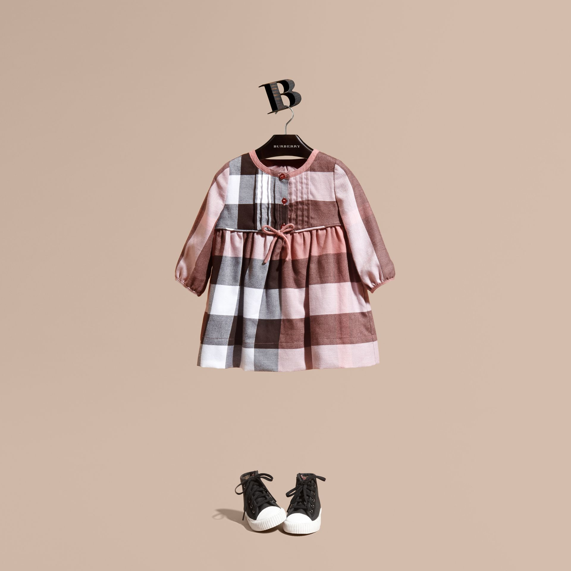Antique rose Check Cotton Flannel Dress with Bow Detail Antique Rose - gallery image 1