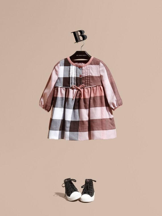 Check Cotton Flannel Dress with Bow Detail Antique Rose