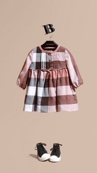 Check Cotton Flannel Dress with Bow Detail