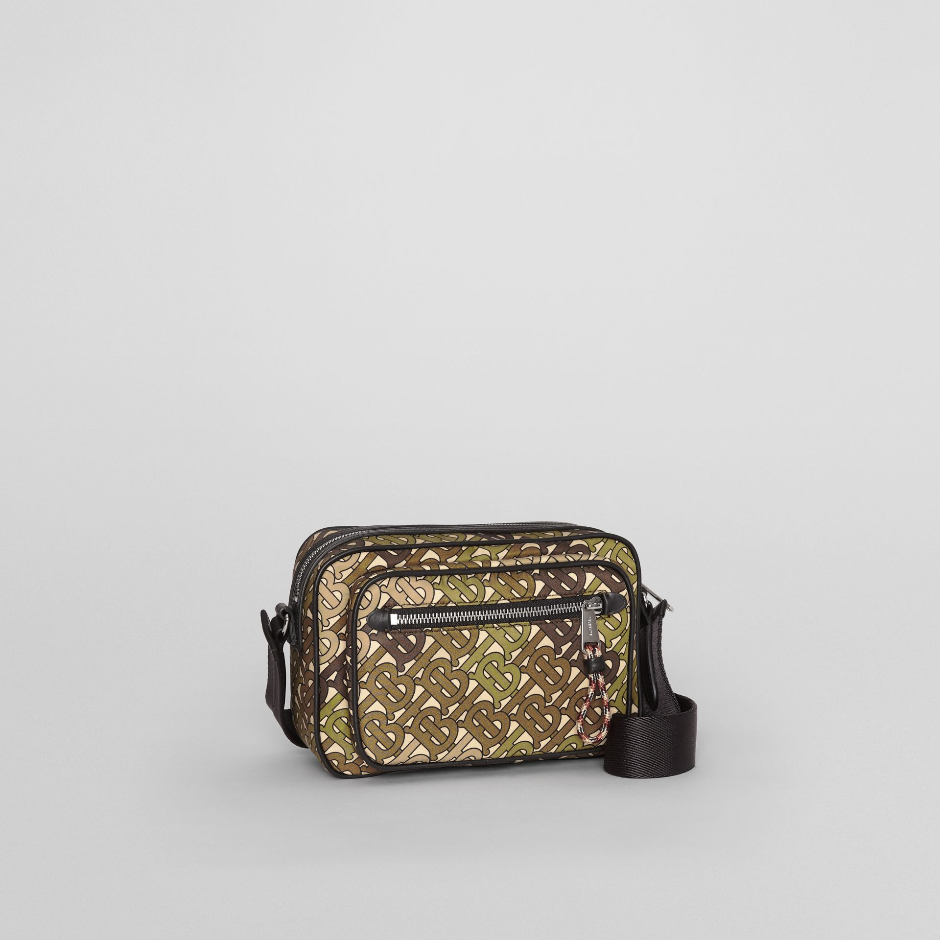 Monogram Print and Leather Crossbody Bag in Khaki Green - Men | Burberry Singapore - gallery image 6