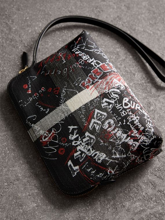 Large Zip-top Doodle Print Coated Canvas Check Pouch in Black/white - Women | Burberry United Kingdom - cell image 3