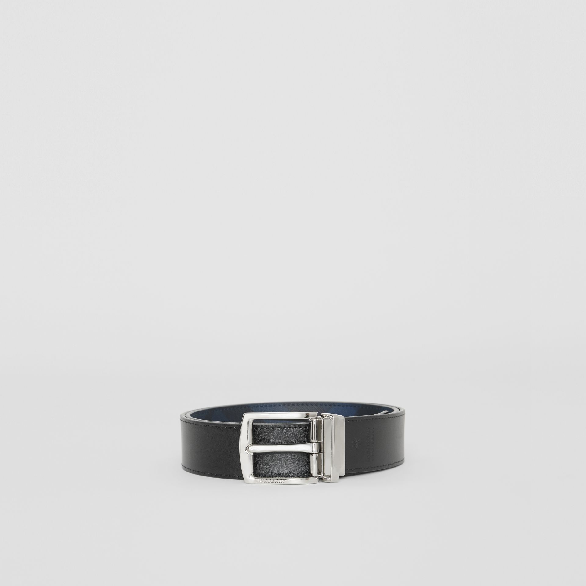 Reversible London Check and Leather Belt in Navy/black - Men | Burberry Hong Kong - gallery image 2