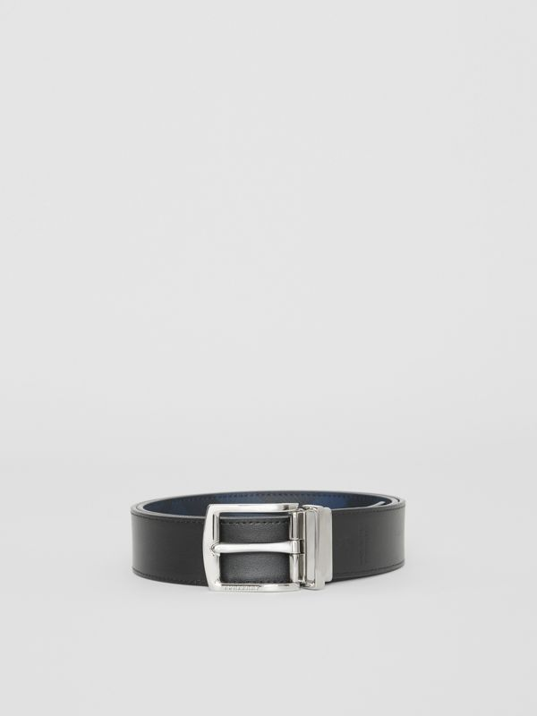 Reversible London Check and Leather Belt in Navy/black - Men | Burberry Hong Kong - cell image 2