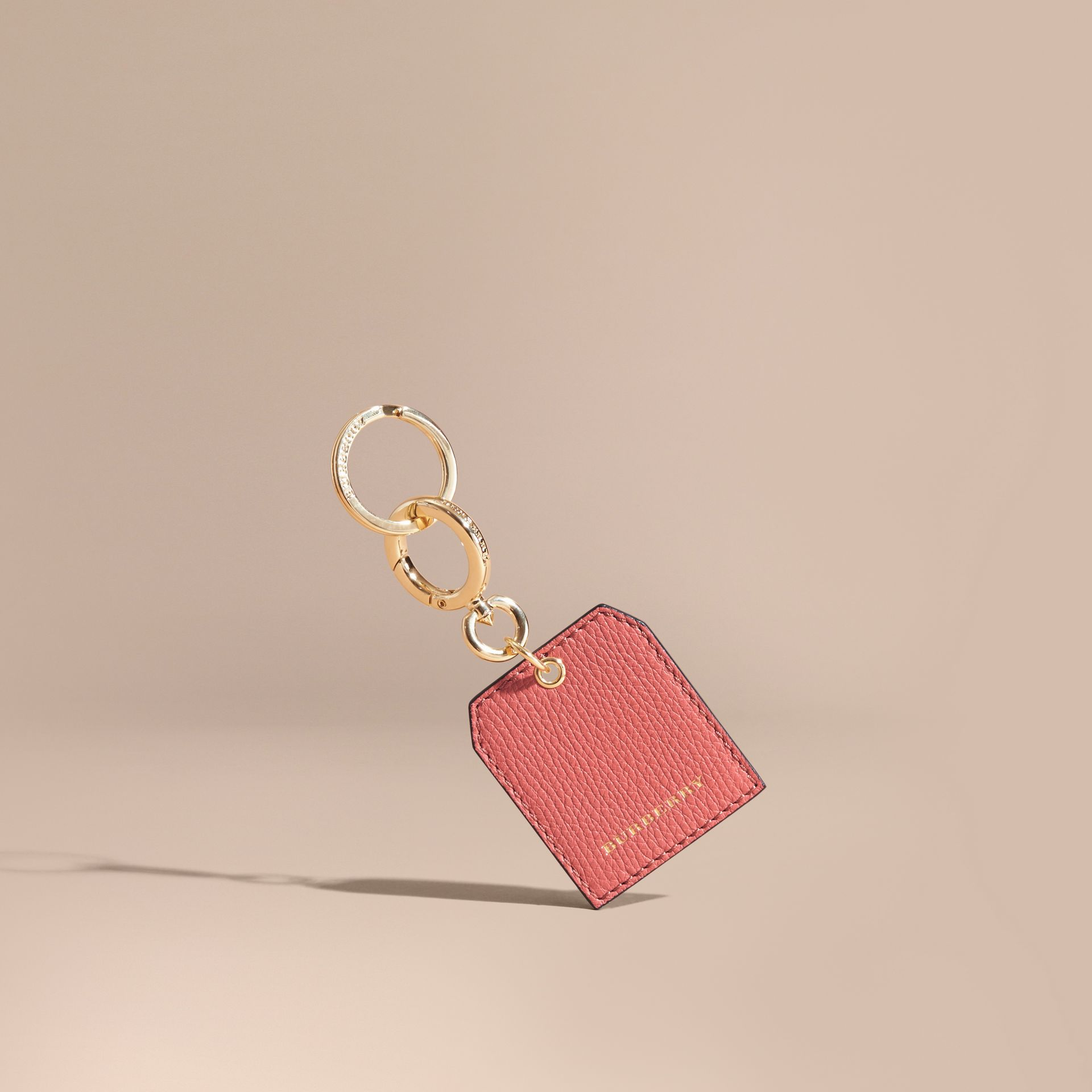 Grainy Leather Key Charm in Copper Pink | Burberry - gallery image 1