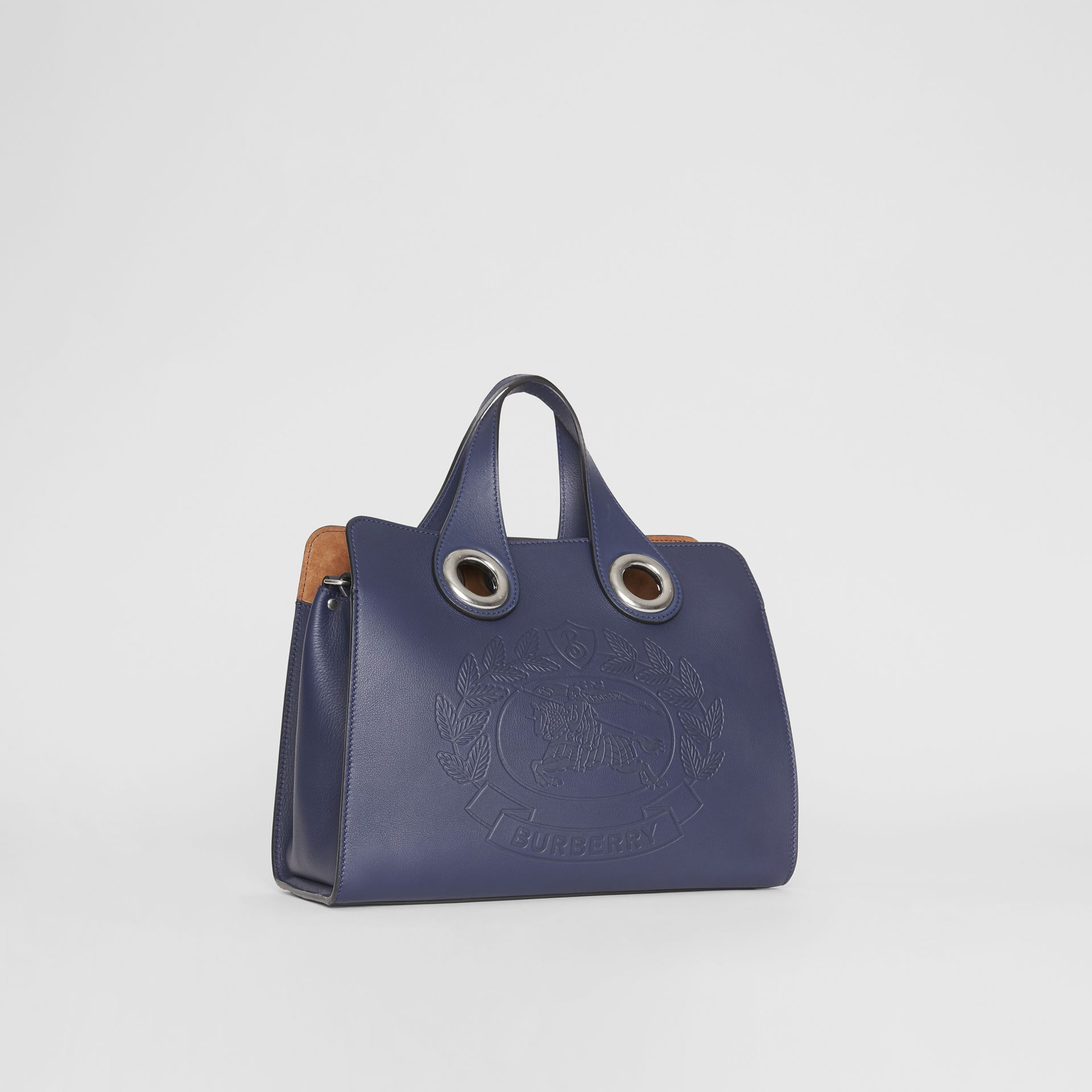 The Leather Crest Grommet Detail Tote in Regency Blue - Women | Burberry United Kingdom - gallery image 6