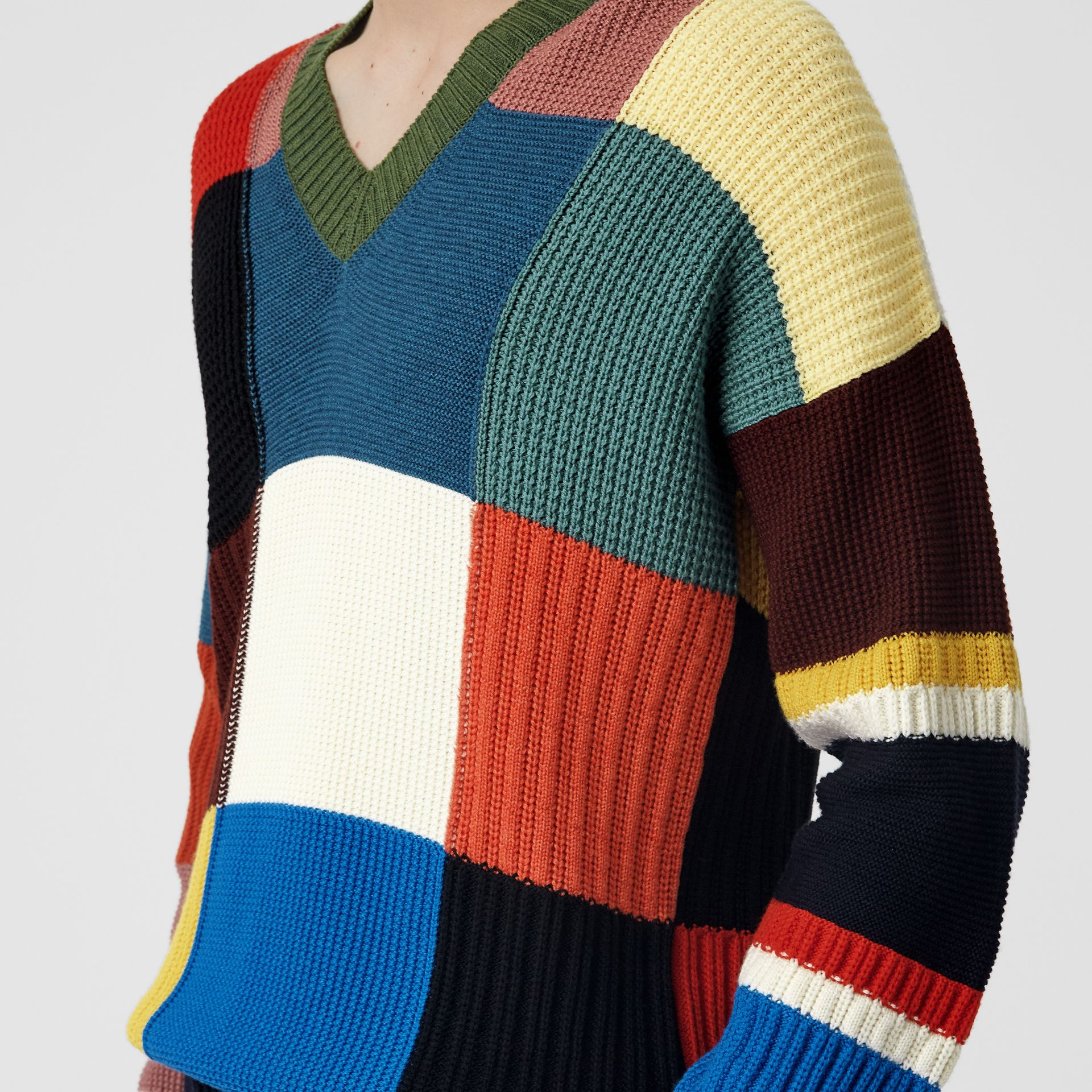 Patchwork Wool V-neck Sweater in Navy - Men | Burberry Australia - gallery image 1