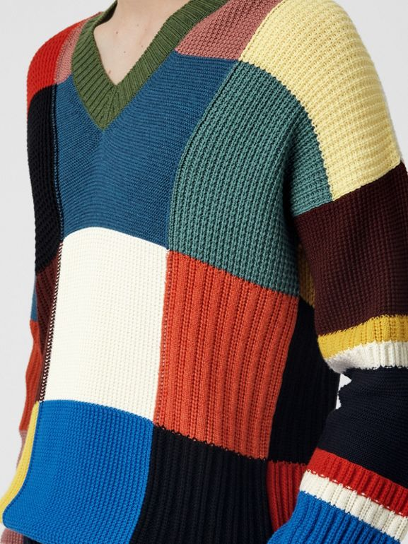 Patchwork Wool V-neck Sweater in Navy - Men | Burberry Australia - cell image 1