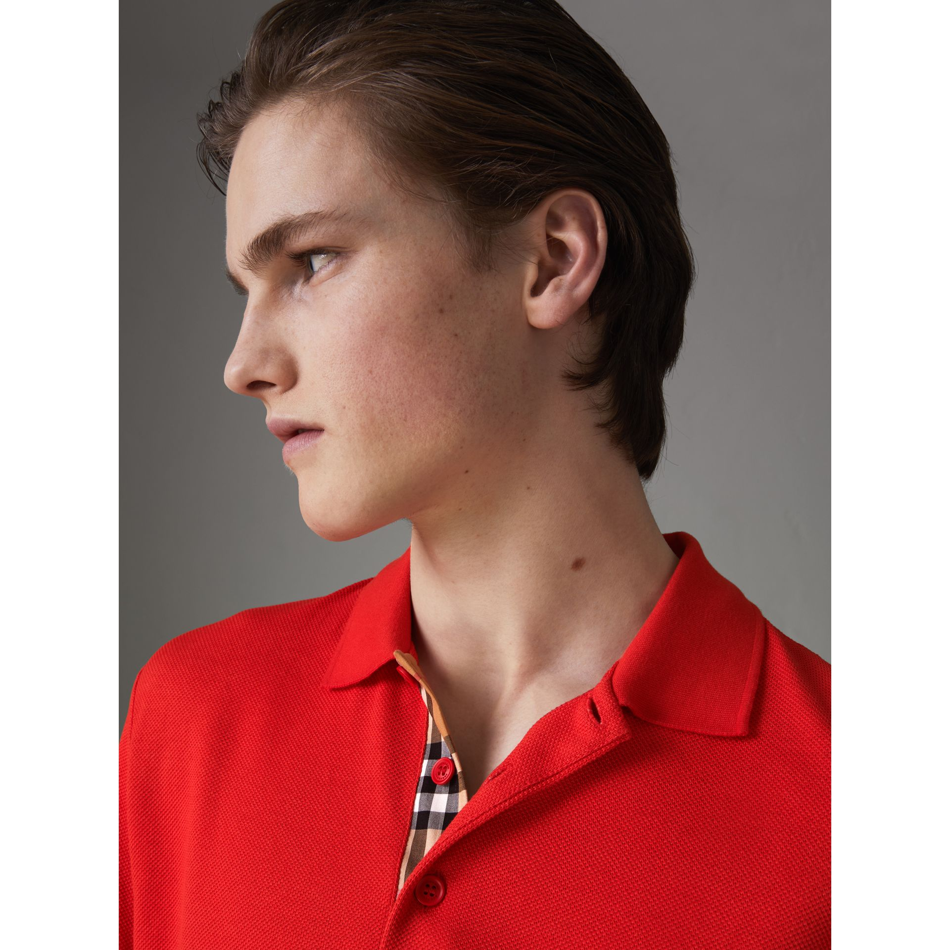 Check Trim Cotton Polo Shirt in Bright Red - Men | Burberry United Kingdom - gallery image 1