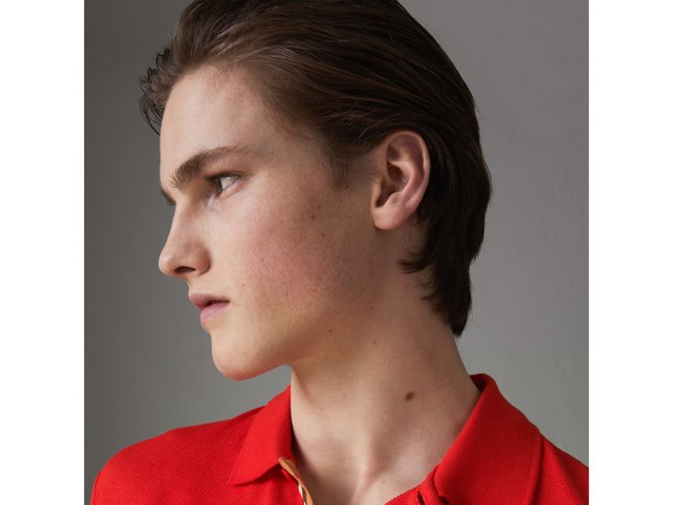Check Trim Cotton Polo Shirt in Bright Red - Men | Burberry - cell image 1