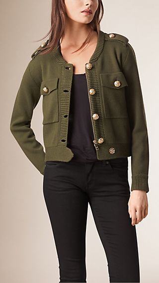 Knitted Wool Cashmere Military Jacket