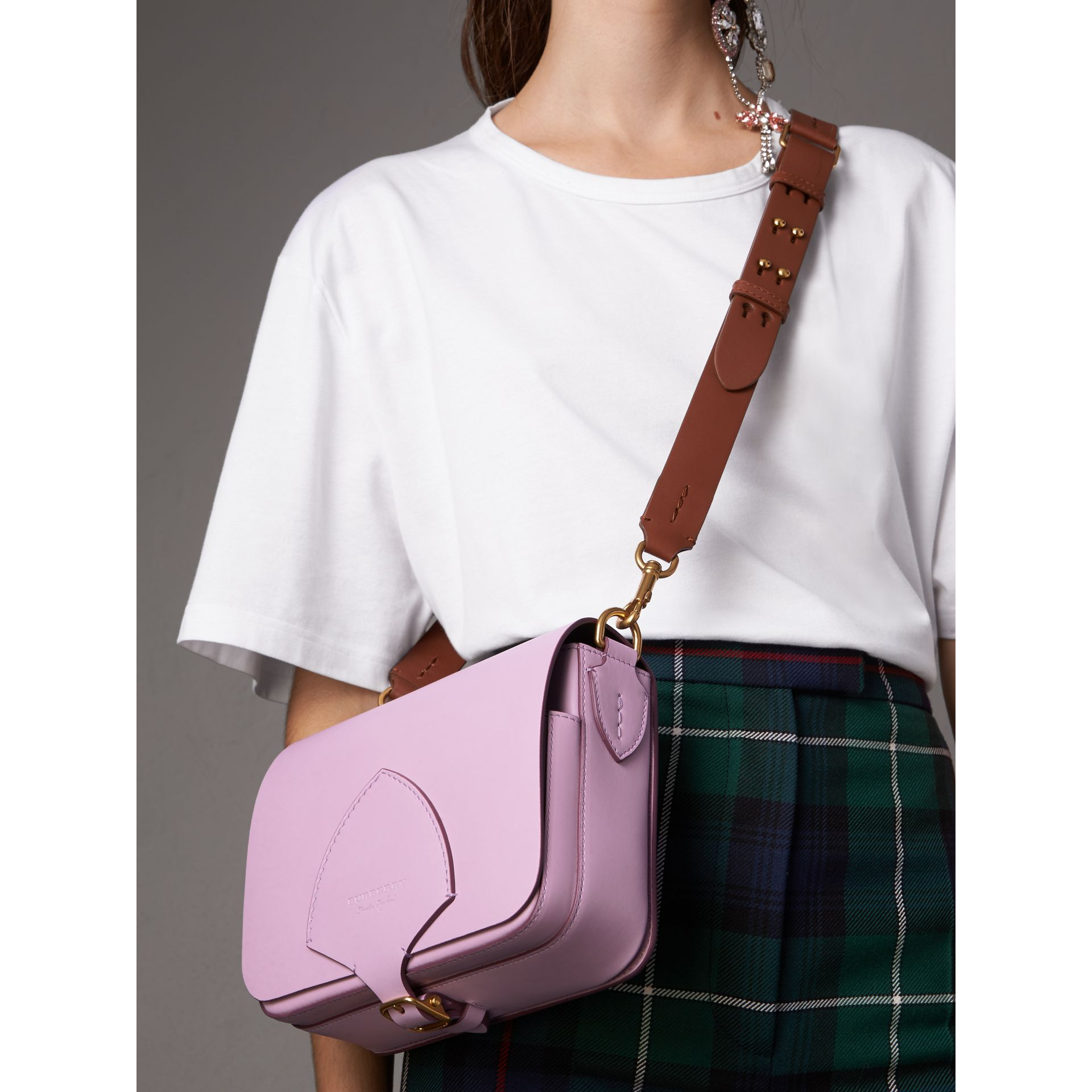 The Satchel squadrata in pelle (Lavanda Pallido) - Donna | Burberry - immagine della galleria 2