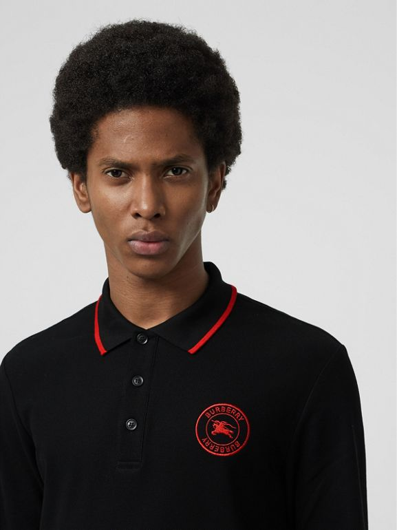 Long-sleeve Embroidered Logo Cotton Polo Shirt in Black - Men | Burberry - cell image 1
