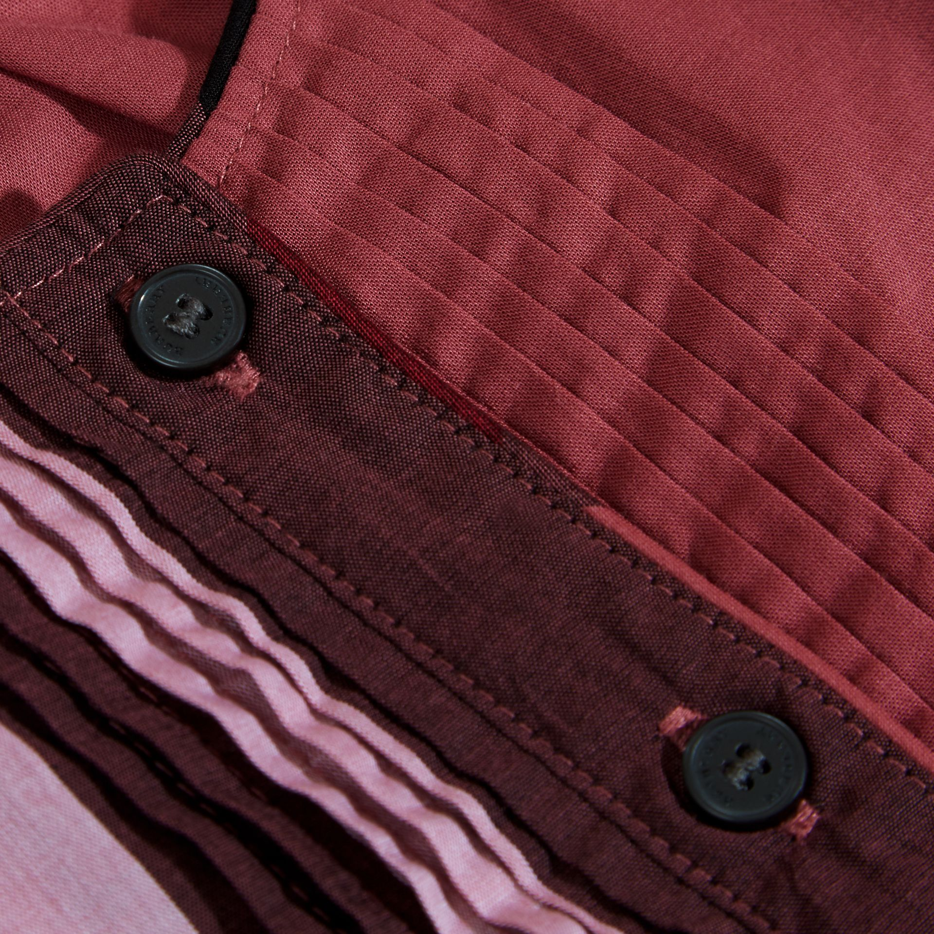 Pintuck Detail Check Cotton Blouse in Pink Azalea - gallery image 2