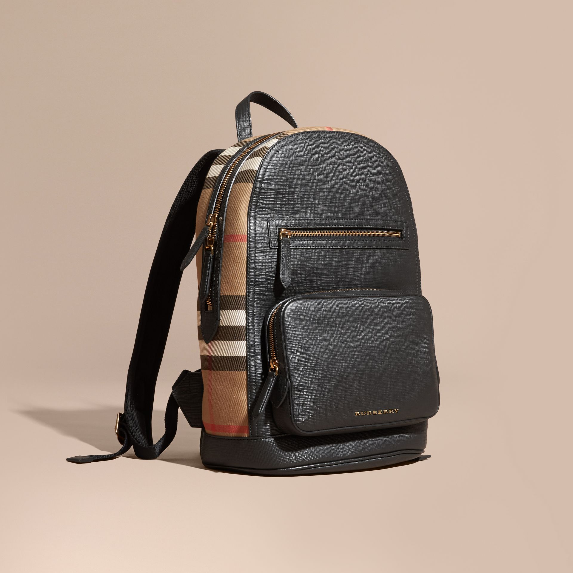 Black Textured Leather and House Check Backpack - gallery image 1