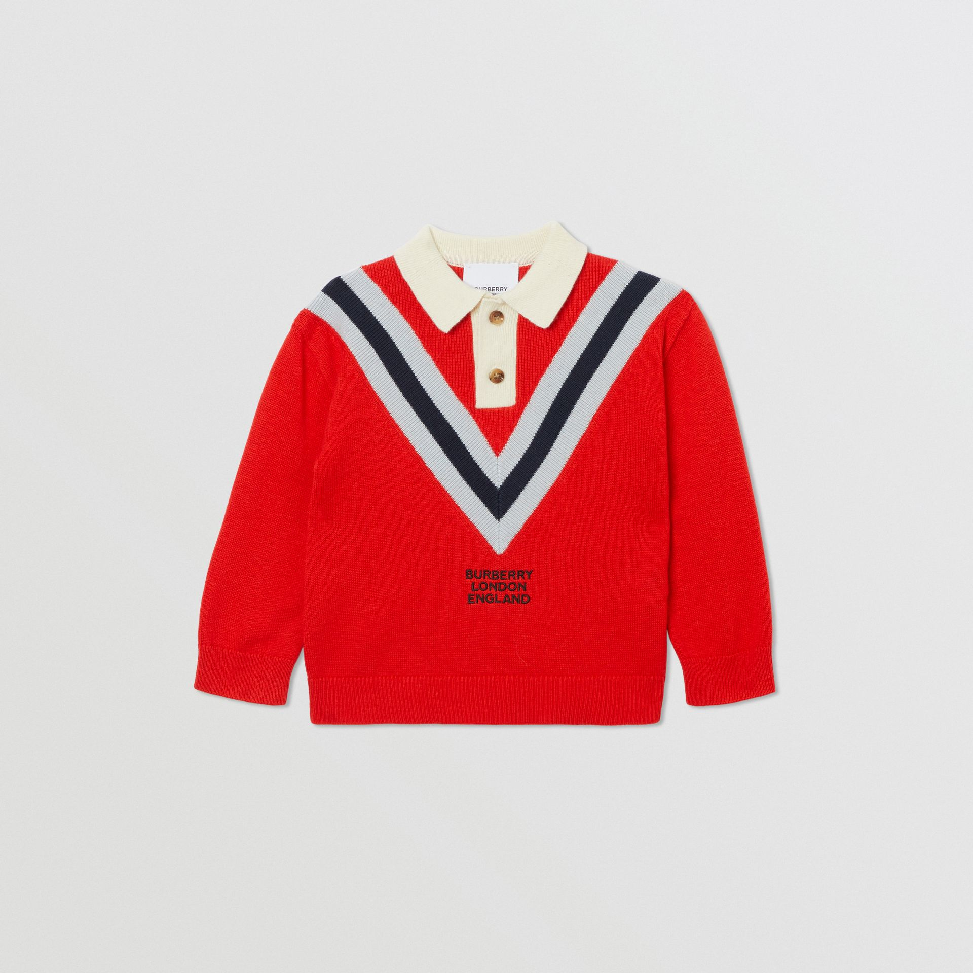 Long-sleeve Knit Cashmere Cotton Polo Shirt in Bright Red - Children | Burberry United Kingdom - gallery image 0