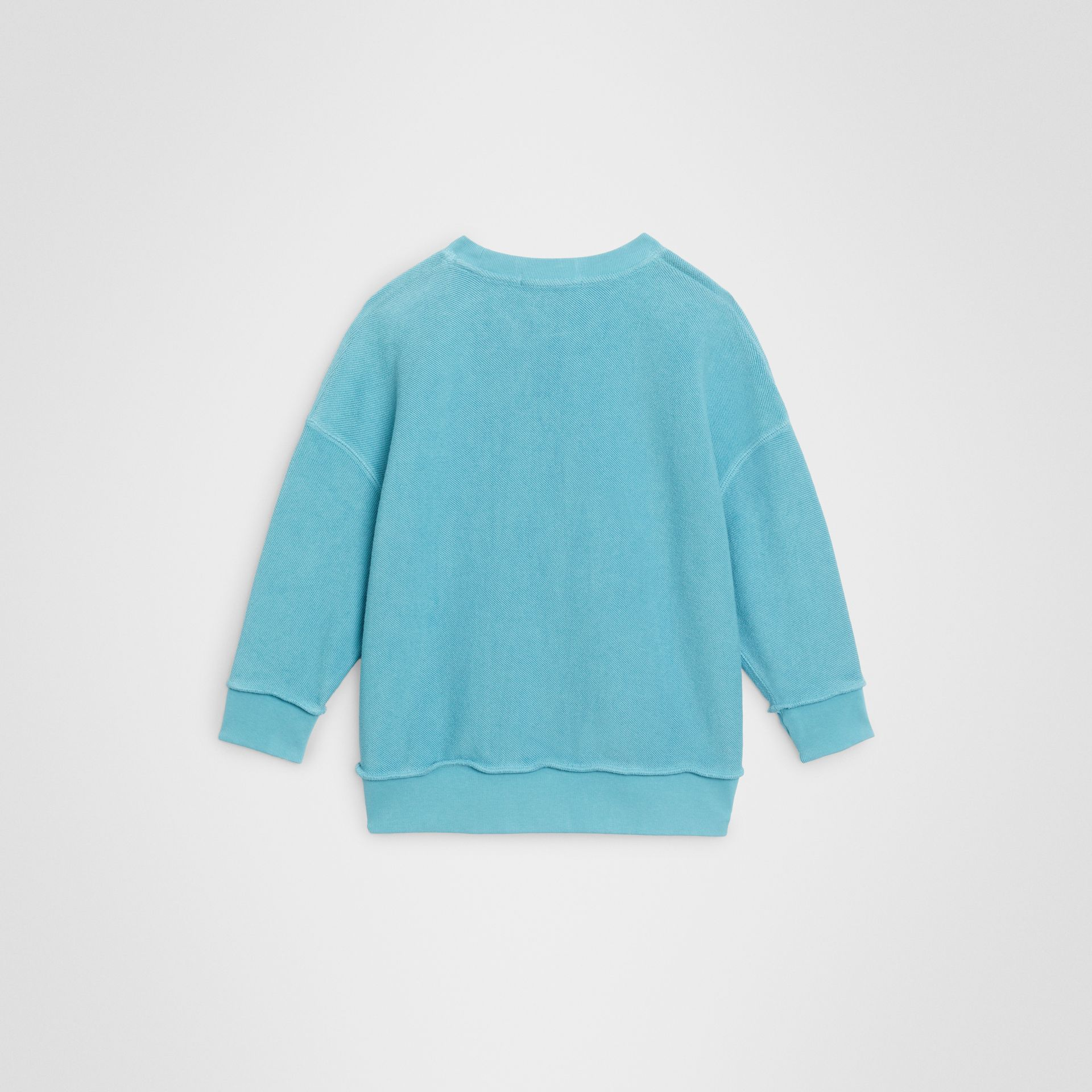 Number Print Cotton Sweatshirt in Bright Cyan Blue | Burberry - gallery image 3