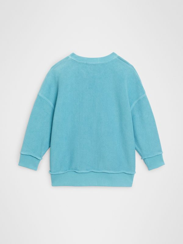 Number Print Cotton Sweatshirt in Bright Cyan Blue | Burberry - cell image 3