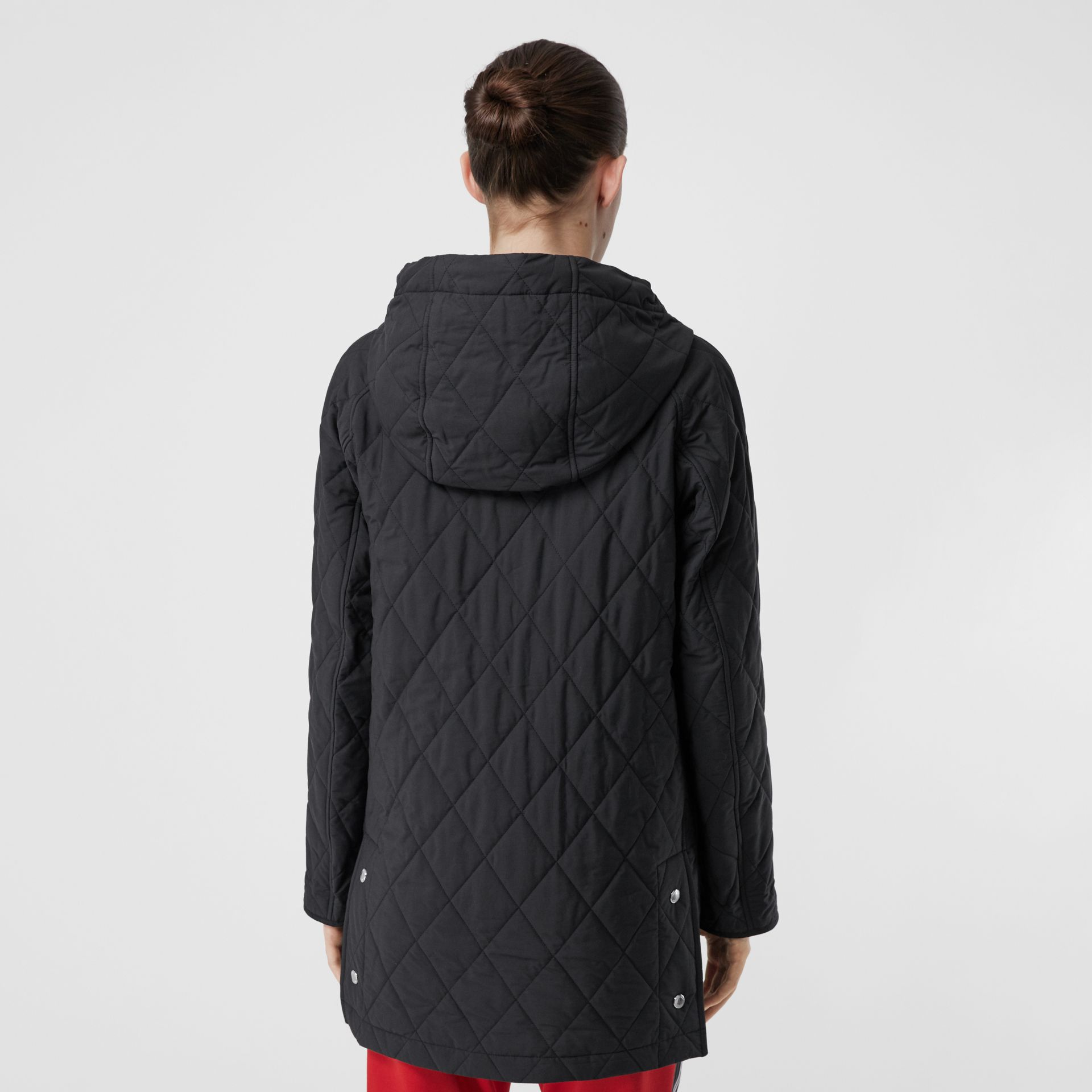 Diamond Quilted Cotton Blend Hooded Coat in Black - Women | Burberry - gallery image 2