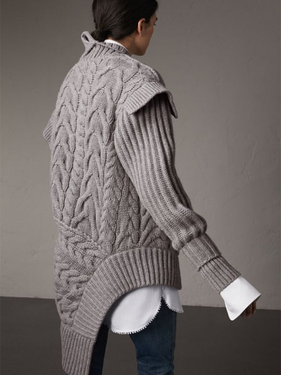 Cable Knit Cashmere Asymmetric Cardigan in Grey Melange - Women | Burberry Australia - cell image 2
